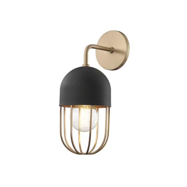 Mitzi by Hudson Valley Lighting H145101-AGB/BK Haley 1 Light Wall Sconce in Aged Brass/Black