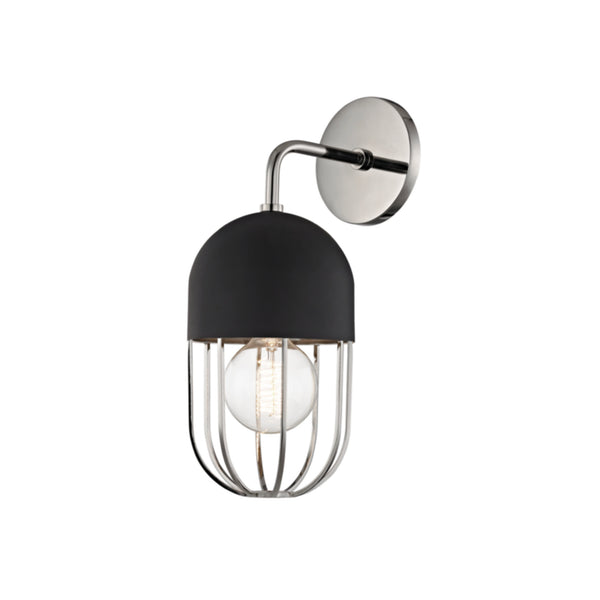 Mitzi by Hudson Valley Lighting H145101-PN/BK Haley 1 Light Wall Sconce in Polished Nickel/Black