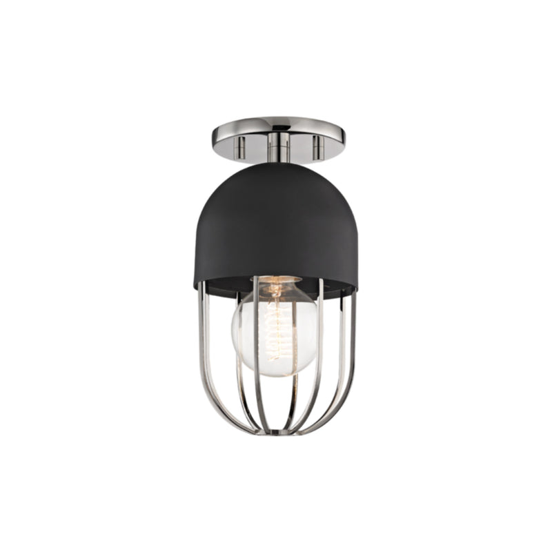 Mitzi by Hudson Valley Lighting H145601-PN/BK Haley 1 Light Flush Mount in Polished Nickel/Black