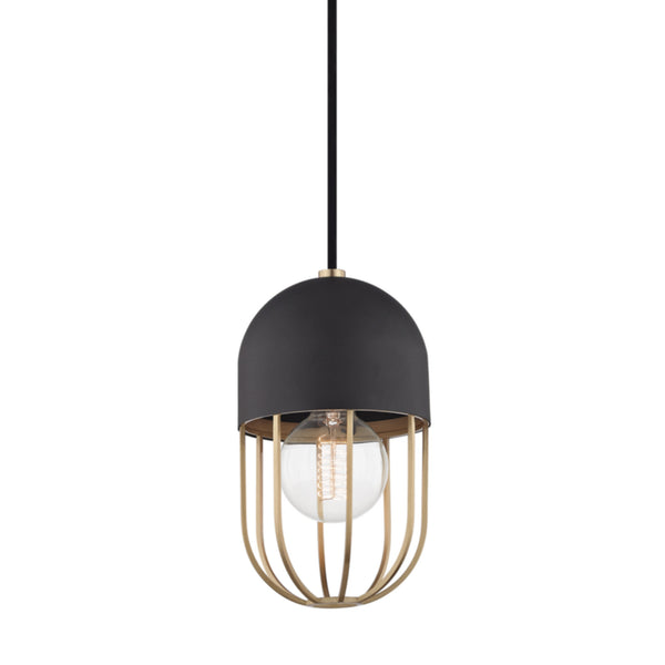 Mitzi by Hudson Valley Lighting H145701-AGB/BK Haley 1 Light Pendant in Aged Brass/Black