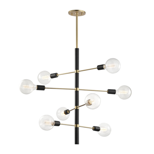 Mitzi by Hudson Valley Lighting H178808-AGB/BK Astrid 8 Light Chandelier in Aged Brass/Black