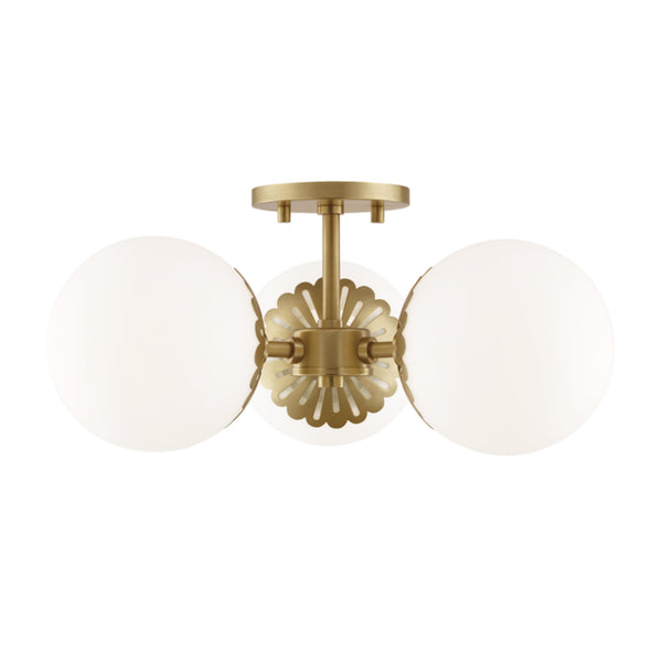 Mitzi by Hudson Valley Lighting H193603-AGB Paige 3 Light Semi Flush in Aged Brass