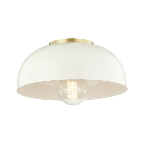 Mitzi by Hudson Valley Lighting H199501S-AGB/CR Avery 1 Light Small Semi Flush in Aged Brass/Cream