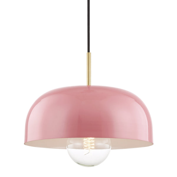 Mitzi by Hudson Valley Lighting H199701L-AGB/PK Avery 1 Light Large Pendant in Aged Brass/Pink