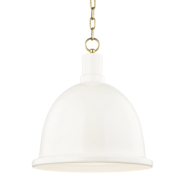 Mitzi by Hudson Valley Lighting H238701L-AGB/CR Blair 1 Light Large Pendant in Aged Brass/Cream