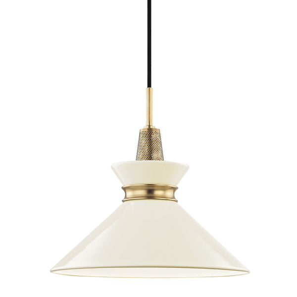 Mitzi by Hudson Valley Lighting H251701S-AGB/CR Kiki 1 Light Small Pendant in Aged Brass/Cream