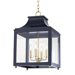 Mitzi by Hudson Valley Lighting H259704L-AGB/NVY Leigh 4 Light Large Pendant in Aged Brass/Navy