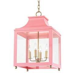 Mitzi by Hudson Valley Lighting H259704L-AGB/PK Leigh 4 Light Large Pendant in Aged Brass/Pink
