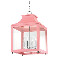 Mitzi by Hudson Valley Lighting H259704L-PN/PK Leigh 4 Light Large Pendant in Polished Nickel/Pink