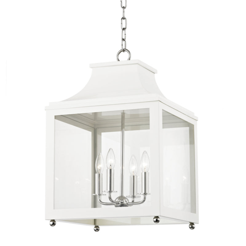 Mitzi by Hudson Valley Lighting H259704L-PN/WH Leigh 4 Light Large Pendant in Polished Nickel/White