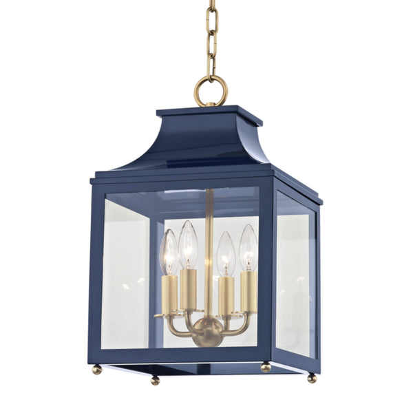 Mitzi by Hudson Valley Lighting H259704S-AGB/NVY Leigh 4 Light Small Pendant in Aged Brass/Navy