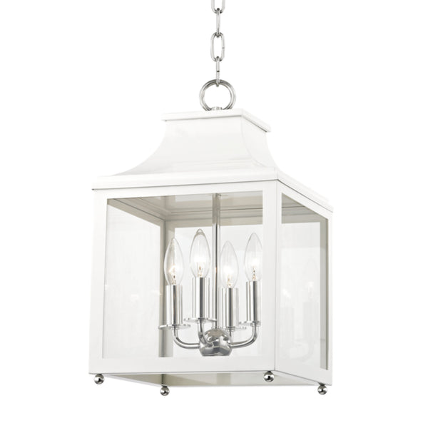 Mitzi by Hudson Valley Lighting H259704S-PN/WH Leigh 4 Light Small Pendant in Polished Nickel/White