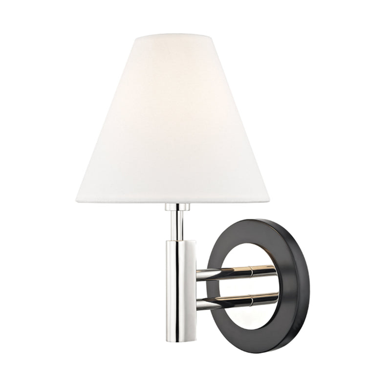 Mitzi by Hudson Valley Lighting H264101-PN/BK Robbie 1 Light Wall Sconce in Polished Nickel/Black