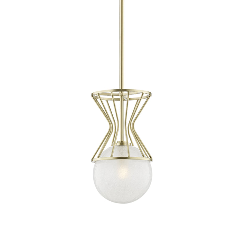 Mitzi by Hudson Valley Lighting H267701-AGB Petra 1 Light Pendant in Aged Brass