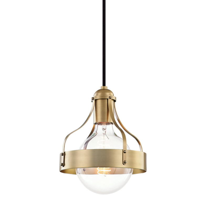 Mitzi by Hudson Valley Lighting H271701-AGB Violet 1 Light Pendant in Aged Brass