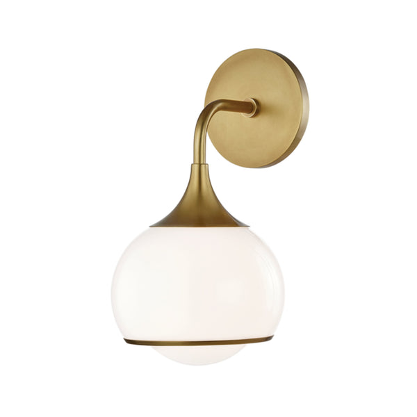 Mitzi by Hudson Valley Lighting H281301-AGB Reese 1 Light Wall Sconce in Aged Brass