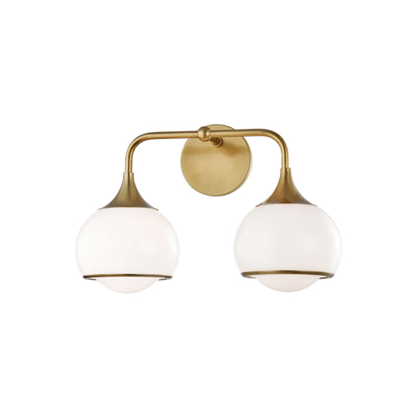 Mitzi by Hudson Valley Lighting H281302-AGB Reese 2 Light Wall Sconce in Aged Brass