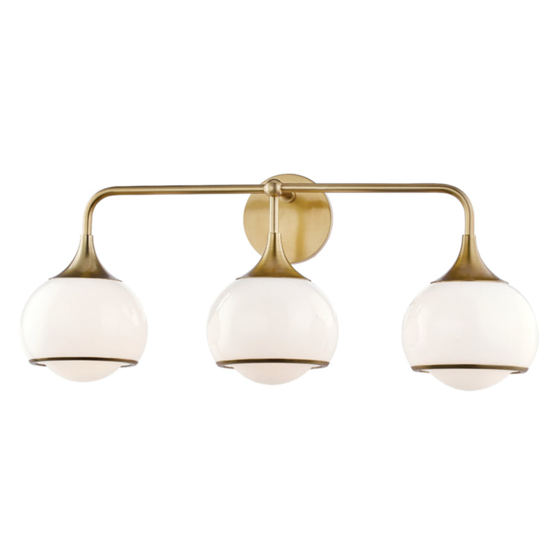 Mitzi by Hudson Valley Lighting H281303-AGB Reese 3 Light Wall Sconce in Aged Brass