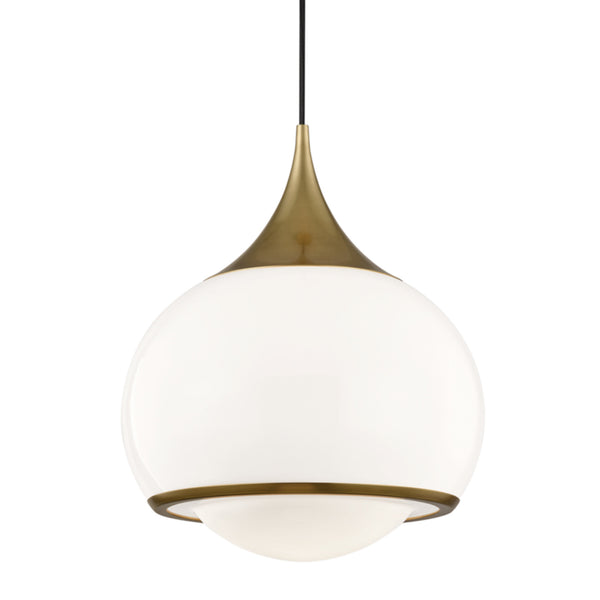 Mitzi by Hudson Valley Lighting H281701L-AGB Reese 1 Light Large Pendant in Aged Brass