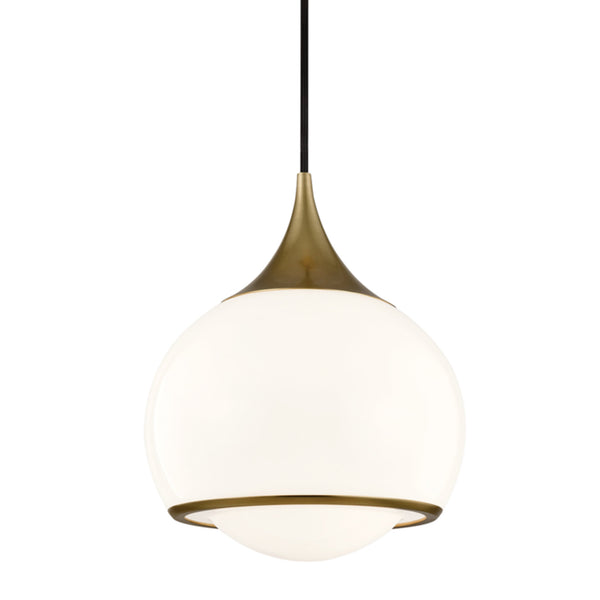 Mitzi by Hudson Valley Lighting H281701M-AGB Reese 1 Light Medium Pendant in Aged Brass
