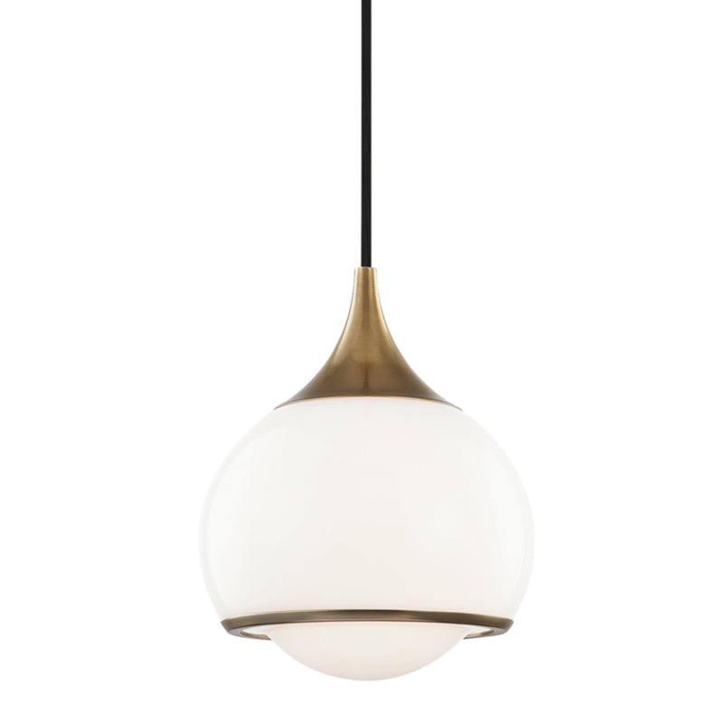 Mitzi by Hudson Valley Lighting H281701S-AGB Reese 1 Light Small Pendant in Aged Brass