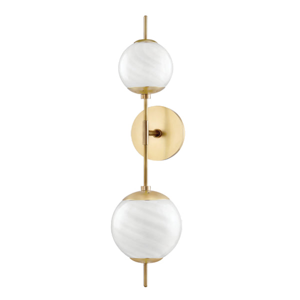 Mitzi by Hudson Valley Lighting H282102-AGB Remi 2 Light Wall Sconce in Aged Brass