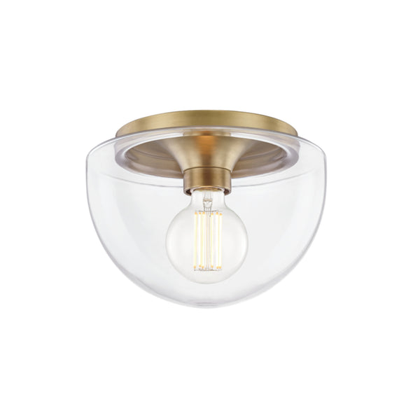Mitzi by Hudson Valley Lighting H284501S-AGB Grace 1 Light Small Flush Mount in Aged Brass