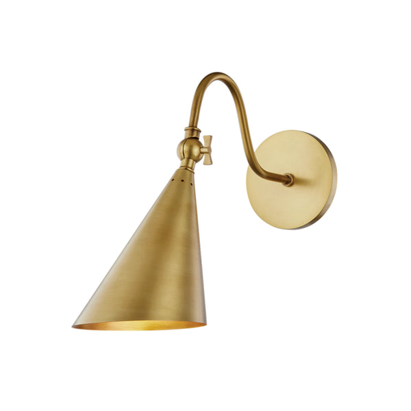Mitzi by Hudson Valley Lighting H285101-AGB Lupe 1 Light Wall Sconce in Aged Brass