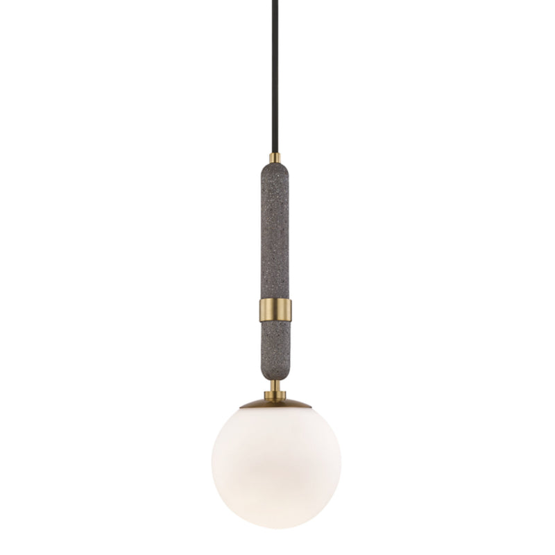 Mitzi by Hudson Valley Lighting H289701S-AGB Brielle 1 Light Small Pendant in Aged Brass