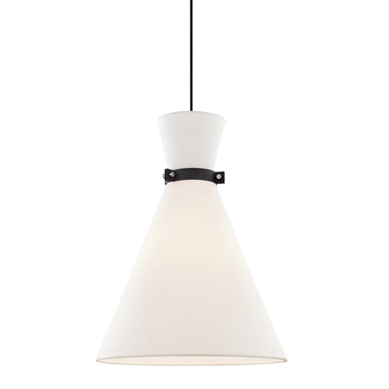 Mitzi by Hudson Valley Lighting H294701L-PN/BK Julia 1 Light Large Pendant in Polished Nickel/Black