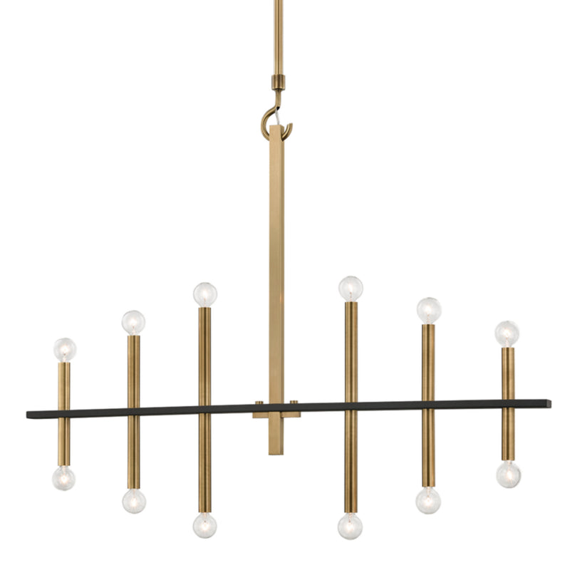Mitzi by Hudson Valley Lighting H296812-AGB/BK Colette 12 Light Chandelier in Aged Brass/Black