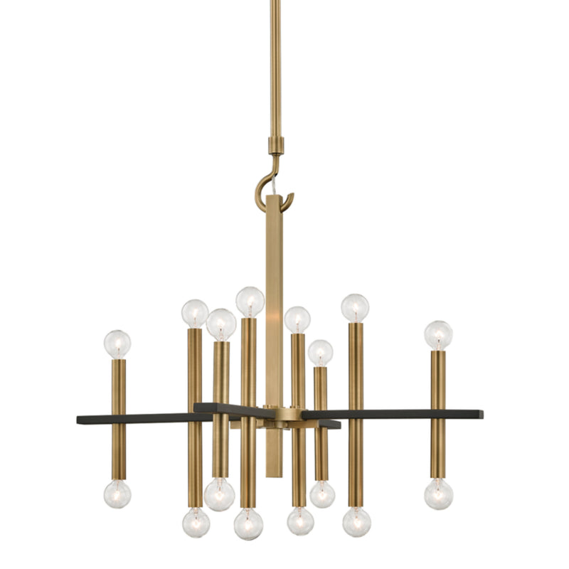 Mitzi by Hudson Valley Lighting H296816-AGB/BK Colette 16 Light Chandelier in Aged Brass/Black