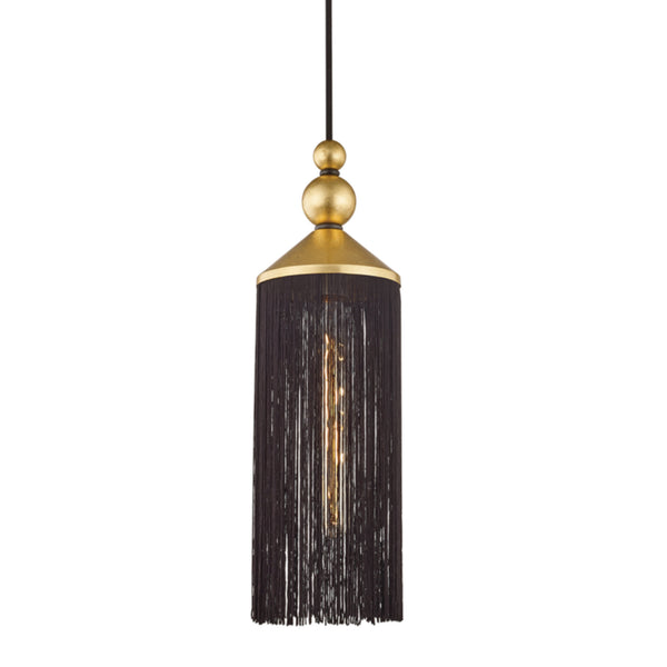 Mitzi by Hudson Valley Lighting H300701-GL/BK Scarlett 1 Light Pendant in Gold Leaf/Black