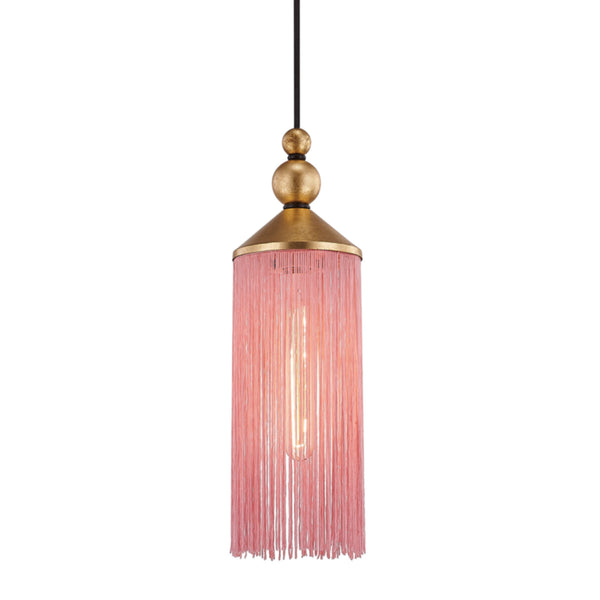 Mitzi by Hudson Valley Lighting H300701-GL/PK Scarlett 1 Light Pendant in Gold Leaf/Pink