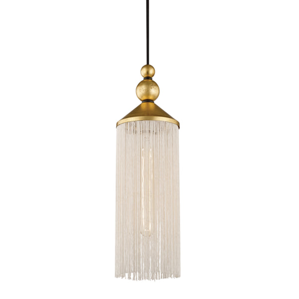 Mitzi by Hudson Valley Lighting H300701-GL/WH Scarlett 1 Light Pendant in Gold Leaf/White