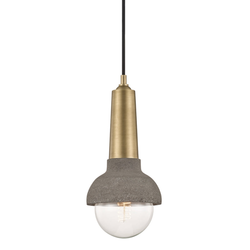 Mitzi by Hudson Valley Lighting H304701-AGB Macy 1 Light Pendant in Aged Brass