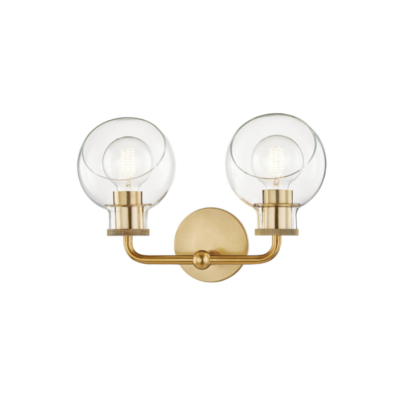 Mitzi by Hudson Valley Lighting H311302-AGB Noelle 2 Light Bath Bracket in Aged Brass
