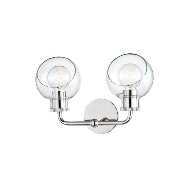 Mitzi by Hudson Valley Lighting H311302-PN Noelle 2 Light Bath Bracket in Polished Nickel