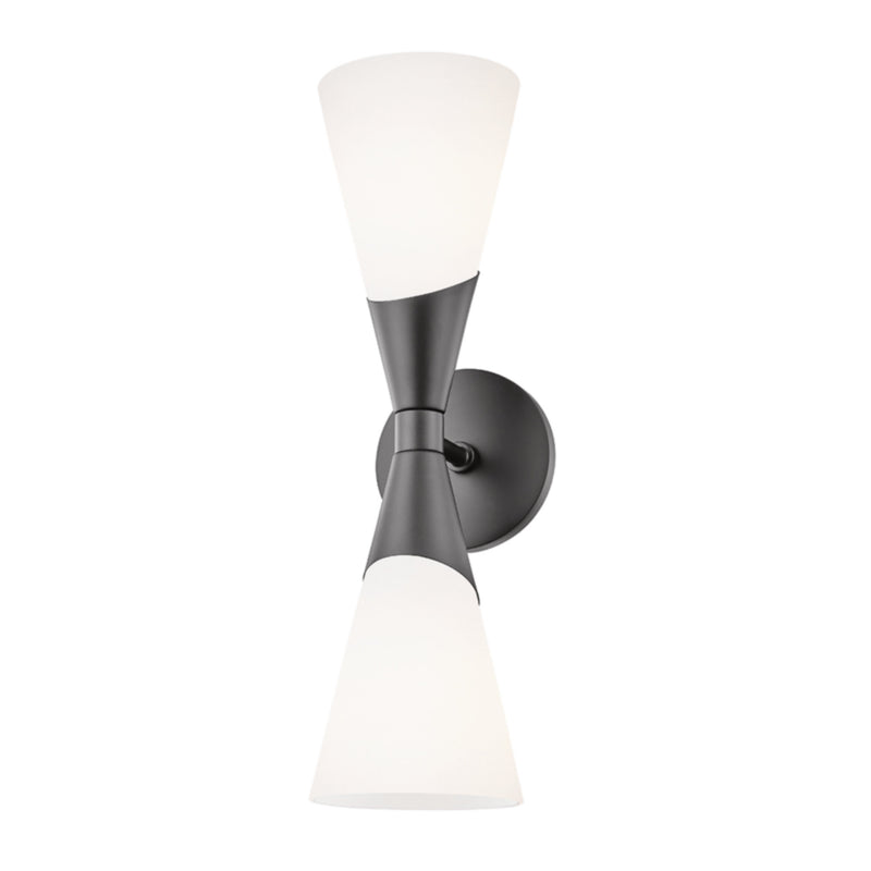 Mitzi by Hudson Valley Lighting H312102-BLK Parker 2 Light Wall Sconce in Black