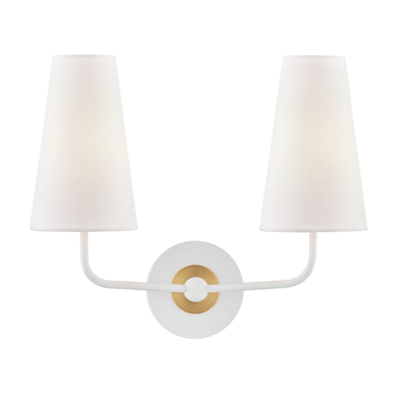 Mitzi by Hudson Valley Lighting H318102-AGB/WH Merri 2 Light Wall Sconce in Aged Brass/White