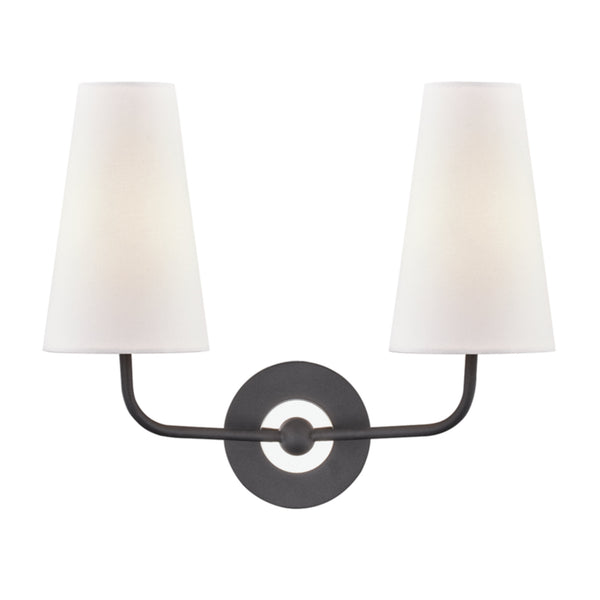 Mitzi by Hudson Valley Lighting H318102-PN/BK Merri 2 Light Wall Sconce in Polished Nickel/Black