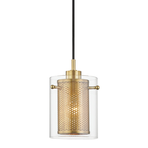 Mitzi by Hudson Valley Lighting H323701-AGB Elanor 1 Light Pendant in Aged Brass