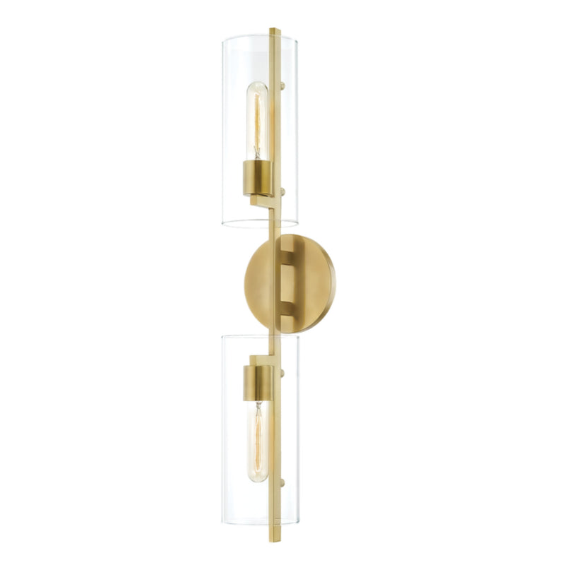 Mitzi by Hudson Valley Lighting H326102-AGB Ariel 2 Light Wall Sconce in Aged Brass