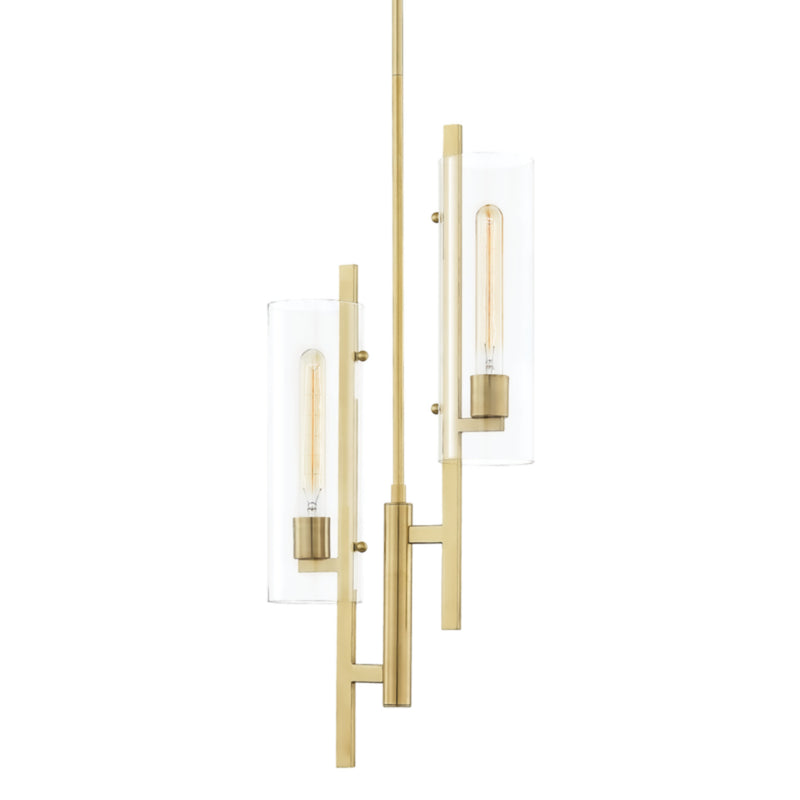 Mitzi by Hudson Valley Lighting H326702-AGB Ariel 2 Light Pendant in Aged Brass