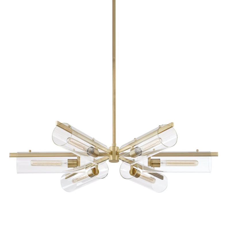 Mitzi by Hudson Valley Lighting H326806-AGB Ariel 6 Light Chandelier in Aged Brass