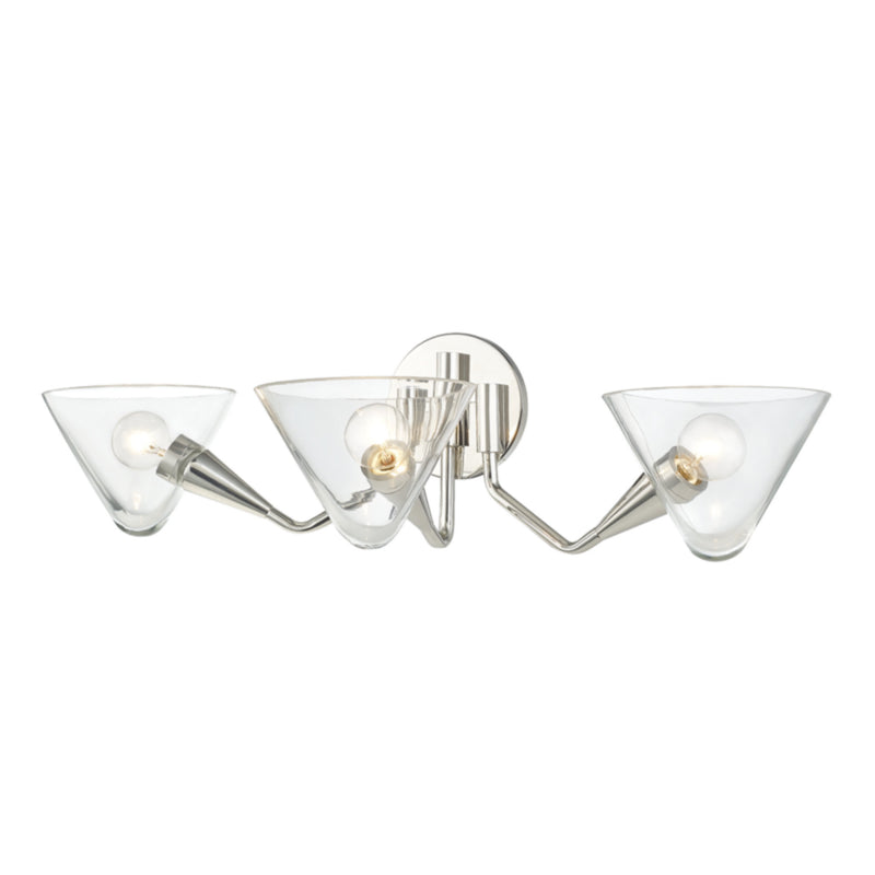 Mitzi by Hudson Valley Lighting H327103-PN Isabella 3 Light Wall Sconce in Polished Nickel
