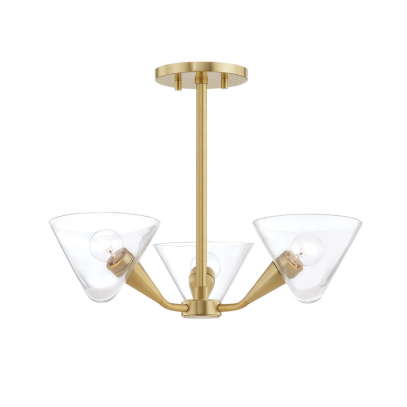 Mitzi by Hudson Valley Lighting H327603-AGB Isabella 3 Light Semi Flush in Aged Brass