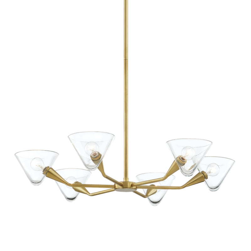 Mitzi by Hudson Valley Lighting H327806-AGB Isabella 6 Light Chandelier in Aged Brass