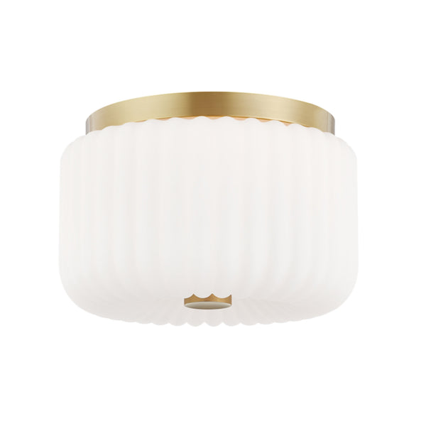Mitzi by Hudson Valley Lighting H340502-AGB Lydia 2 Light Flush Mount in Aged Brass