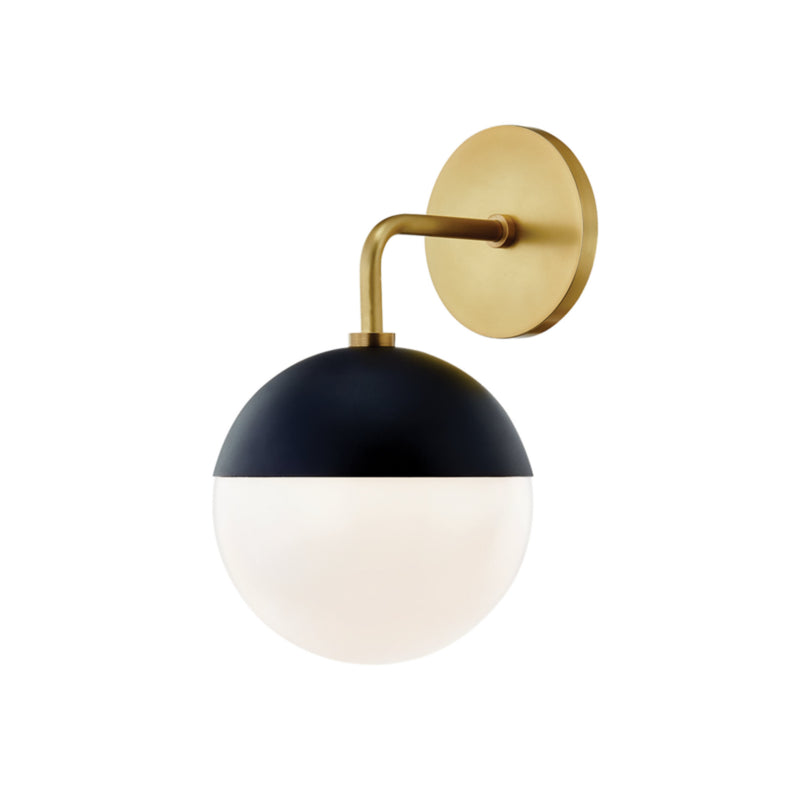 Mitzi by Hudson Valley Lighting H344101-AGB/BK Renee 1 Light Wall Sconce in Aged Brass/Black